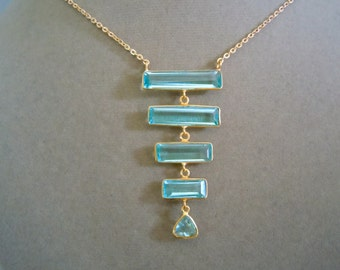 ONE of a KIND -- Aquamarine & 14K Gold Cable Chain Necklace