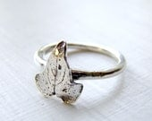 Sterling Silver Ring. Ivy Leaf Ring. Stackable Silver Ring. Stacking Silver Ring. Unique Ring. Twig Ring