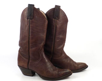Cowboy Boots Vintage 1980s Stacked Heel Brown Riding Larry Mahan Women's size 5