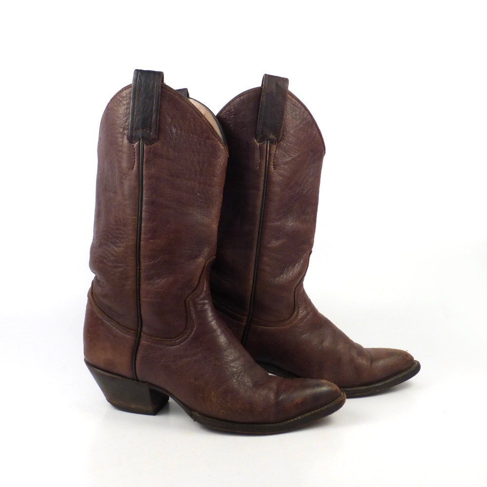 cowboy boots vintage 1980s stacked heel brown larry
