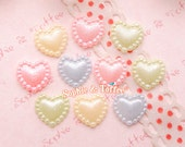 Pastel Pearl Heart Flatback Cabochons - 50pc