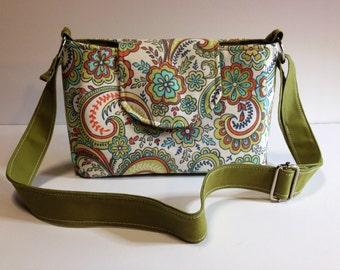 Purse Shoulder Bag Crossbody Medium-Sized Bag Flap Bag Retro Floral Lime Green Orange Teal Adjustable Strap Pockets