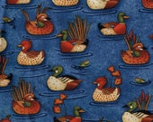 1/2 Yard Cut Mallard Ducks Birds Blue Debbie Mumm 100% Cotton Fabric for Sewing Crafts .5 Yd Material Orange Blue