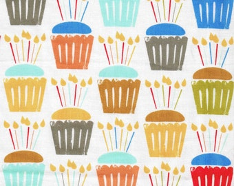 1/2 Yard Cut Cotton Michael Miller Cupcake Craze Dessert Candles Cotton Fabric for Sewing Crafts .5 Yd White Yellow Red Orange