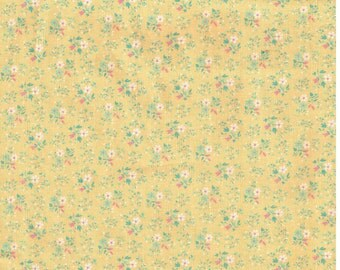 7/8 Yard Vintage Yellow Cotton Fabric with Pink Flowers Concord Fabrics Sewing Materal Supply