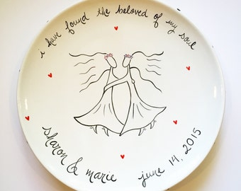 wedding platter for two women custom hand painted personalized