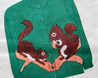 1950s Knit O Graf PATTERN 232 Squirrels for a Cardigan Sweater Pullover Boyrs or Girls size 6 8 10 12 PDF instant download