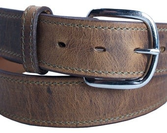 Distressed Boot Leather Belt 1 1/2'' up to 46'' waist