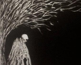 Animated Skeleton intaglio print