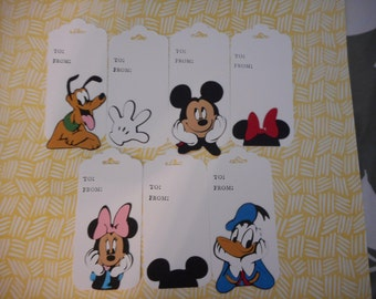 Cricut cut Disney gift tags set of 7  with ribbon