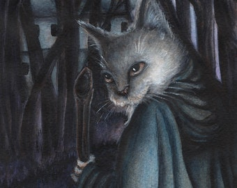 Grey Cat Dressed in Traveling Robes Fairy Tale Illustration 5x7 Archival Print