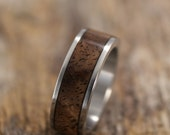 Stainless Steel and Figured Walnut Bentwood Ring - Introductory Price!