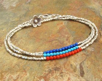 Lapis Turquoise Coral Thai Silver Bracelet - Blossom