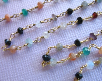 Shop Sale... Rosary Chain, CONFETTI Gemstone Wire Wrapped Chain by Foot, Beaded Chain, Silver or Gold Plated, Wholesale Chain rc.7 solo