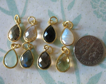 Shop Sale.. Bezel Gemstone Pendants Charms, you choose gemstone, 14x8.25 mm, 24k Gold Vermeil or Sterling Silver, petite pear GCP4
