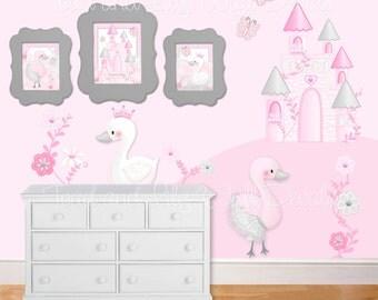 Fabric WALL DECALS Set of Swan Princess Fairytale Castle Girl's Bedroom Decor Playroom Baby Nursery Kids Wall Art Decals