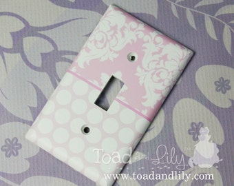 Pink Damask and Polka Dots and Stripes Girls Bedroom Single Light Switch Cover LS0075