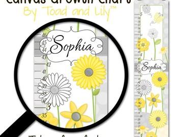 Canvas Growth Chart Yellow and Gray Blossom Flower Garden Daisy Girls Bedroom Baby Nursery Wall Art GC0027