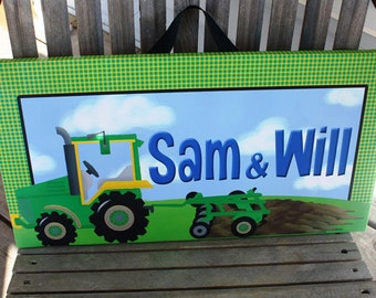 Personalized Green Tractor Stretched Canvases Boys Bedroom CANVAS Bedroom Wall Art CS0046