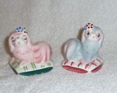 Vintage PY Japan Dog Puppy on Pillows Salt and Pepper Shakers Norcrest Pink Napco Miyao