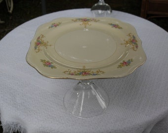 Vintage Pedestal Saucer Serving Plate/dish/cookie dish/candy/jewelry holder