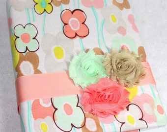 GUEST Book, BABY Shower Guest Book, Advice Book, Shabby Chic, Coral, Mint, Burlap, Floral, Custom Colors available