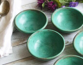 Ceramic Prep Bowls, Set of Three Copper Green Small Pottery Bowls Handmade Rustic Kitchen Bowls Ceramic Pottery Bowls Ready to Ship