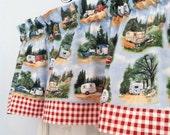 Camping Travel Trailer Retro Window Valance Kitchen Curtain Red Check Trim Valance