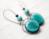Tree earrings - Turquoise earrings - Branch earrings - Tree jewelry (E061)