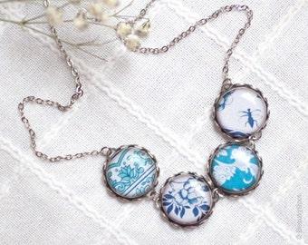 Porcelain necklace - Navy Blue necklace - Retro necklace - Floral necklace - Blue bib necklace - Ornaments necklace (BN003)