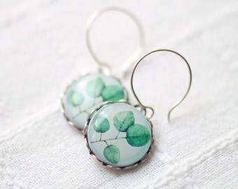 Mint Leaves earrings - Spring Leaves earrings - green leaf earrings - mint earrings - green earrings - blue earrings - Spring jewelry (E017)