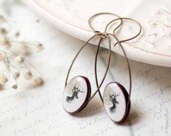 Deer earrings - Deer jewelry - Animal jewelry - Woodland earrings - Rustic earrings - Elk jewelry - Elk earrings - Beige earrings (E009)