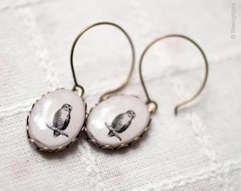 Vintage Owl earrings - White earrings - Beige earrings - Owl jewelry - Bird earrings - Woodland jewelry - White oval earrings (E065)