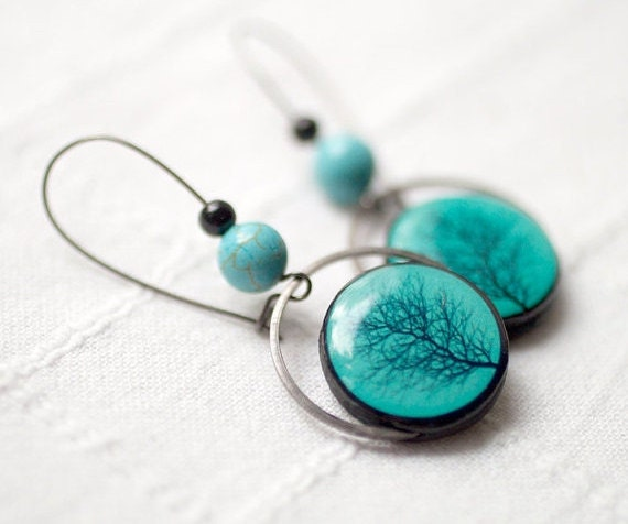 Tree earrings - Turquoise earrings - Branch earrings - Tree jewelry (E061)