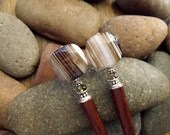 "Hairsticks with Puffed Square Cut Banded Agates and Faceted Smoky Quartz, Long Hair Jewelry with Natural Gemstones ""Nature's Pinstripes"""
