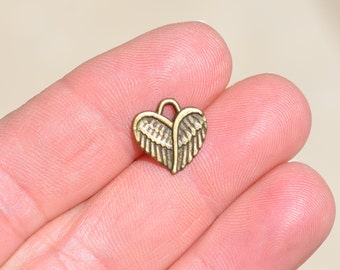 10 Antique Bronze Heart Wing Charms BC2646