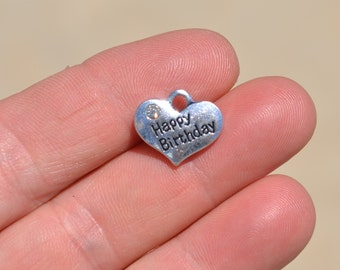 5  Silver Happy Birthday Heart Charms SC2697