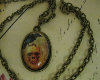 POE INSPIRED Goth Necklace, Oval Image Under Glass
