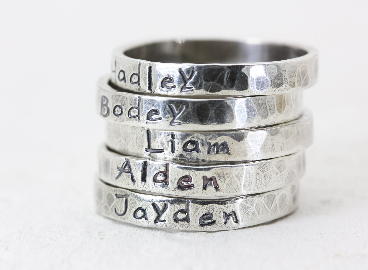 personalized stacking rings sterling silver by