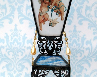 OOAK Miniature Fairy Chair Throne Stained Glass Heirloom - Angels To Watch Over Me