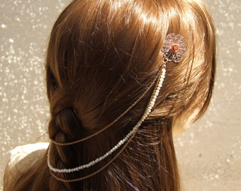 Rose Gold  Hairpiece, Bridal Hair Chain, Pearls Hair Wreath, Bridal Pearl Headpiece, Rose Gold Hair Accessories