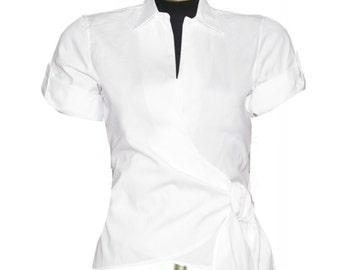 White Cotton Wrap Blouse, Custom Fit, Handmade