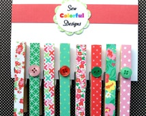 Decorative Magnetic Clothespins: Set of 8 - Spring Romance