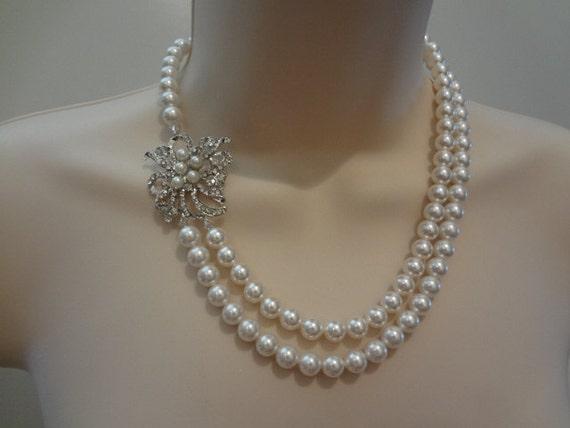 Wedding Necklace Bridal double strand Swarovski Pearl Rhinestone Necklace Wedding Jewelry Bridal Necklace Wedding accessory, Aimee II