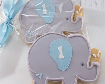 Elephant Cookies - 12 Decorated Sugar Cookie Favors