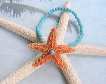 Wrist Corsage Bracelet - Tropical Star Sugar Starfish and Turquoise Wrist Corsage Bracelet