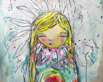 Let The Light In- an Original Mixed Media Painting on Paper by Juliette Crane