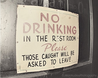 Bathroom Art, Funny Bar Sign Photography, Vintage Style Retro Bar Sign, Black and White, Quirky Art Print, Sign Photo, Humorous Gift For Him