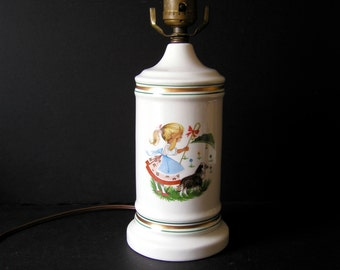 Adorable Vintage Baby Girl's Room Lamp - Scully & Scully Style - Classic Preppy Bedroom Chic - Small Bedside Lamp - Little Bo Peep Porcelain