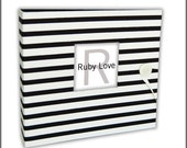 Black and White Stripe Album | Ruby Love Modern Baby Memory Book